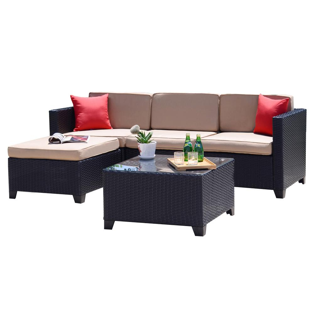 Crawford & Burke Iquitos Brown 5-Piece Wicker Outdoor Sectional Set with  Tan Cushions