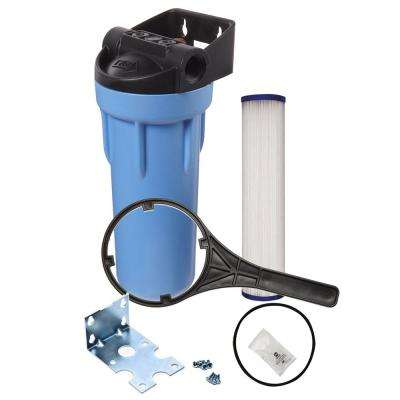 10 in. Slim Polypropylene Whole House Water Filtration System with Pressure Release and Pleated Filter Kit