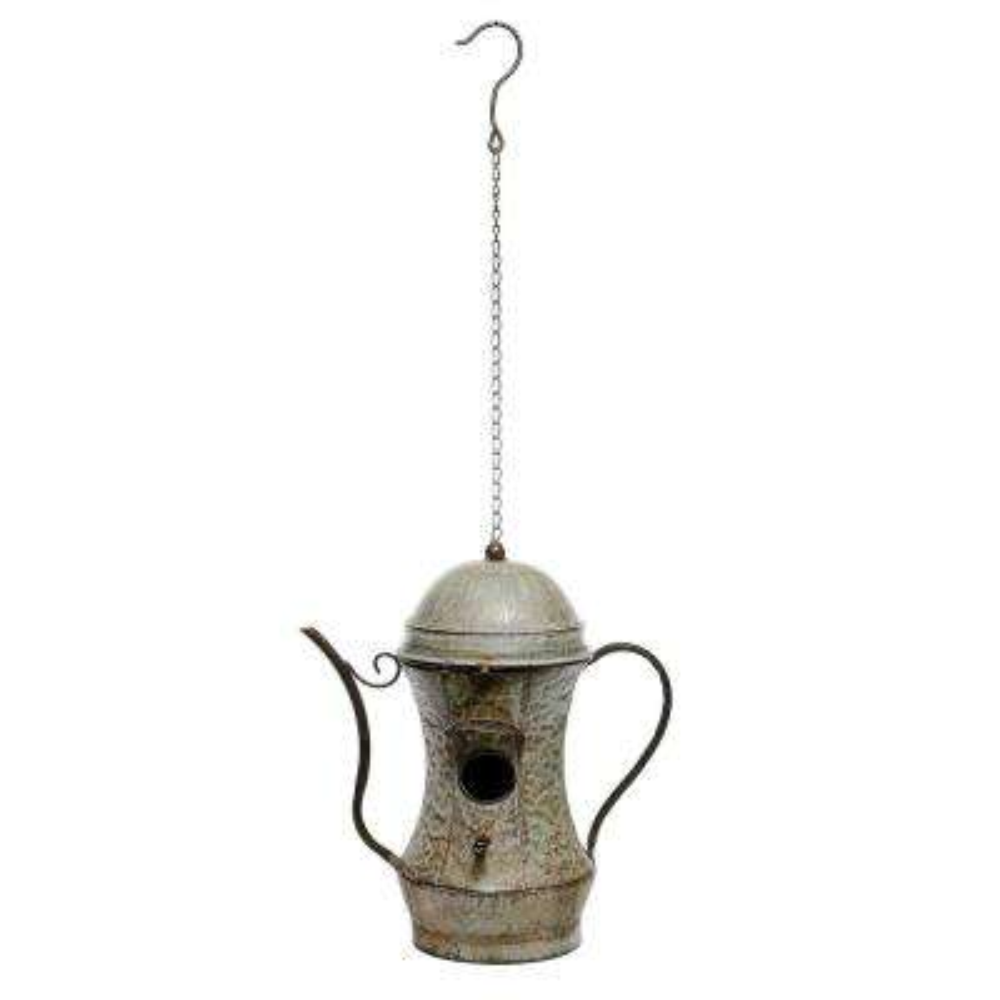 30 in. Tall Alpine Metal Tea Pot Birdhouse