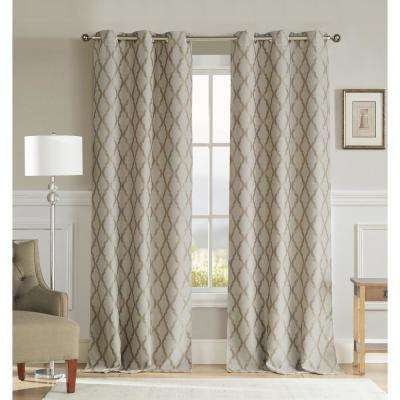 Kitterina 96 in. L x 36 in. W Polyester Blackout Curtain Panel in Dark Taupe (2-Pack)