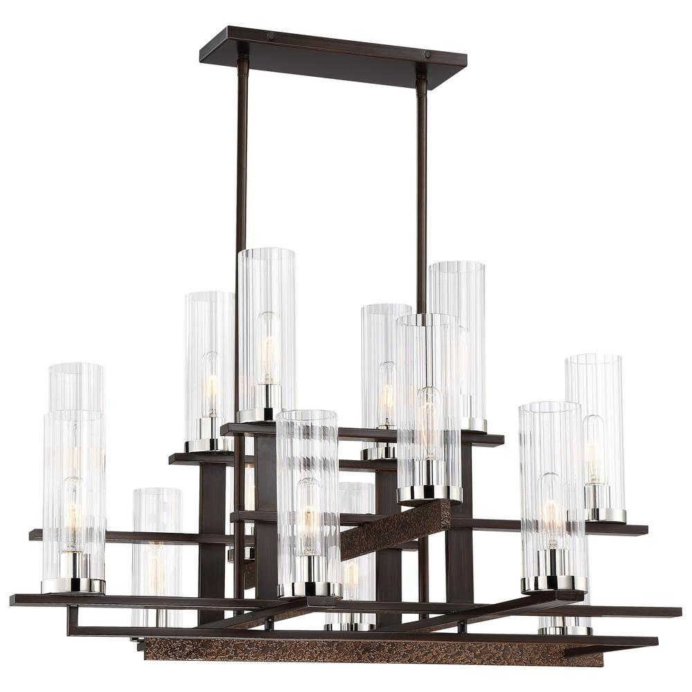 Minka Lavery Maddox Roe 14-Light Iron Ore and Gold Dust Highlights Chandelier with Clear Ribbed Shade