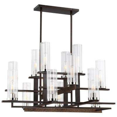 Maddox Roe 14-Light Iron Ore and Gold Dust Highlights Chandelier with Clear Ribbed Shade