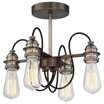 Uptown Edison 4-Light Harvard Court Bronze Semi Flush Mount