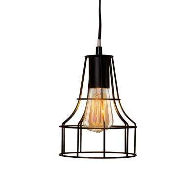 Fangio Lighting's 8.01 in. 1-Light Black Metal Cage Pendant