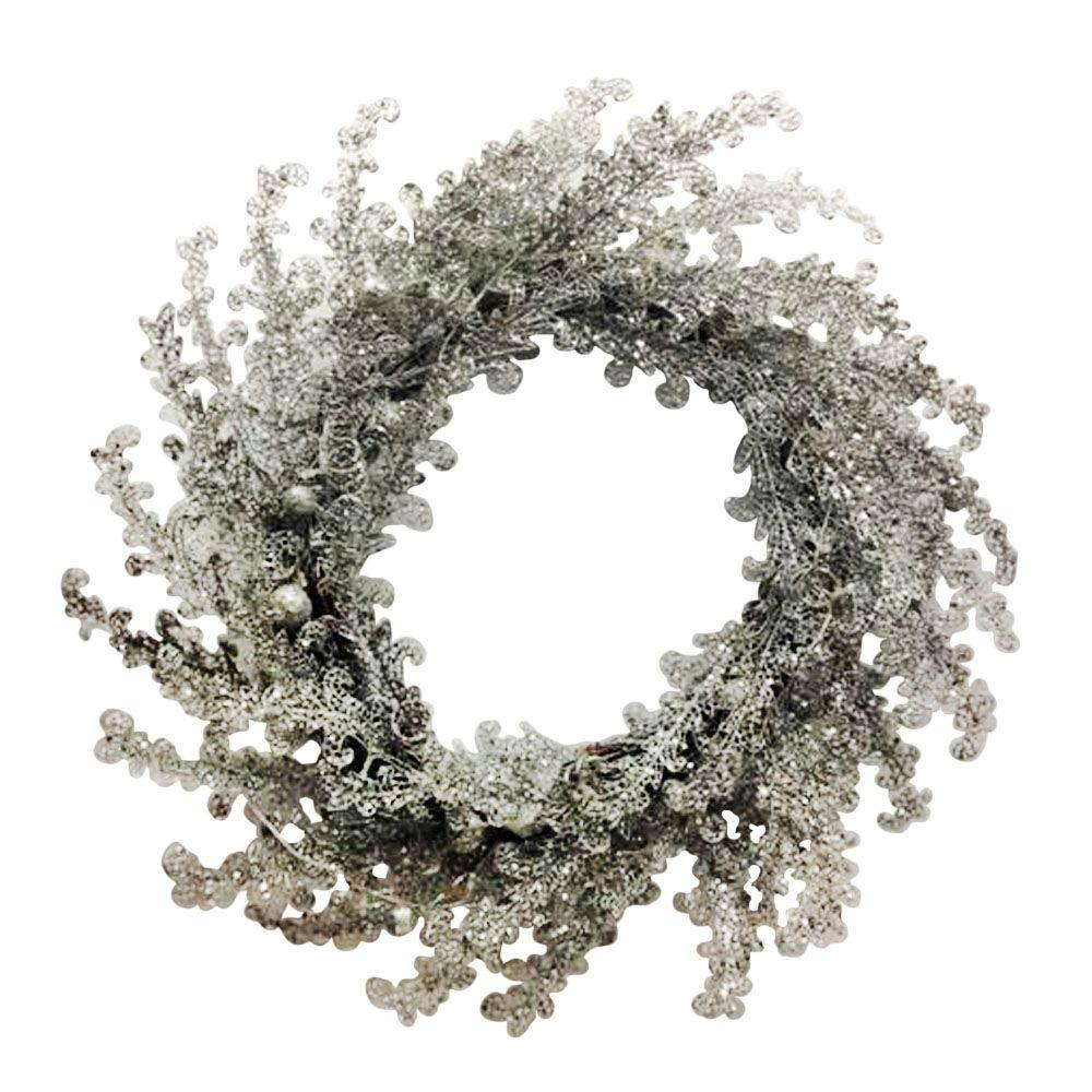 null 24 in. Diameter Lit Plastic Beaded Silver Artificial Wreath