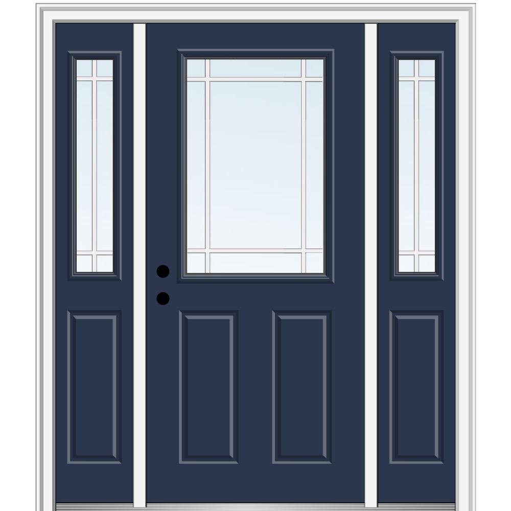 MMI Door 64 in. x 80 in. Internal Grilles Right-Hand 1/2-Lite Clear Painted Fiberglass Smooth Prehung Front Door with Sidelites