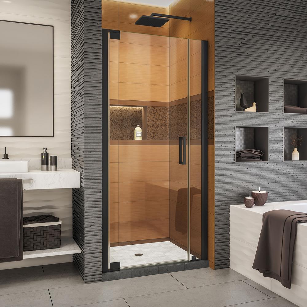 Elegance-LS 29-1/4 in. to 31-1/4 in. W x 72 in. H Frameless Pivot Shower Door in Satin Black