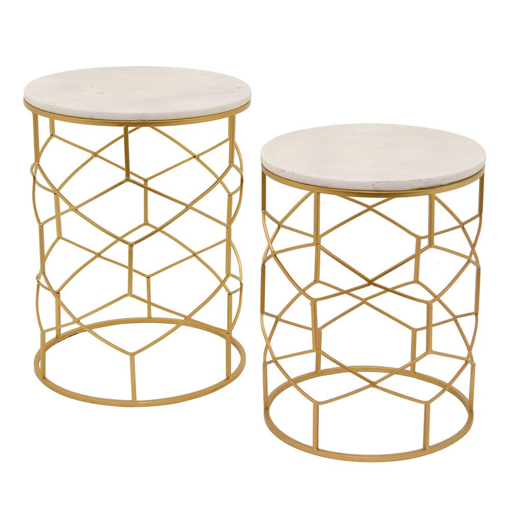 Gold Metal And Marble Top Table Set Of 2
