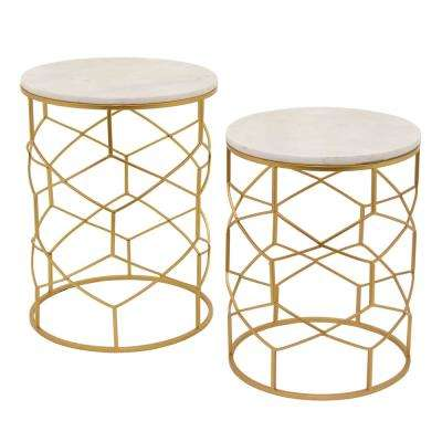 21.5 in. Gold Metal and Marble Top Table (Set of 2)