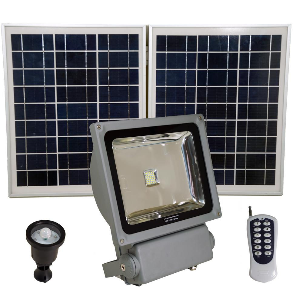 Solar Goes Green 200 Watt Super Bright 30 Motion Activated Grey Outdoor Integrated Led Flood Security Light Remote