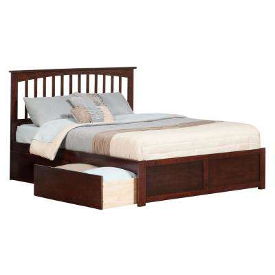 Mission Walnut King Platform Bed with Flat Panel Foot Board and 2-Urban Bed Drawers