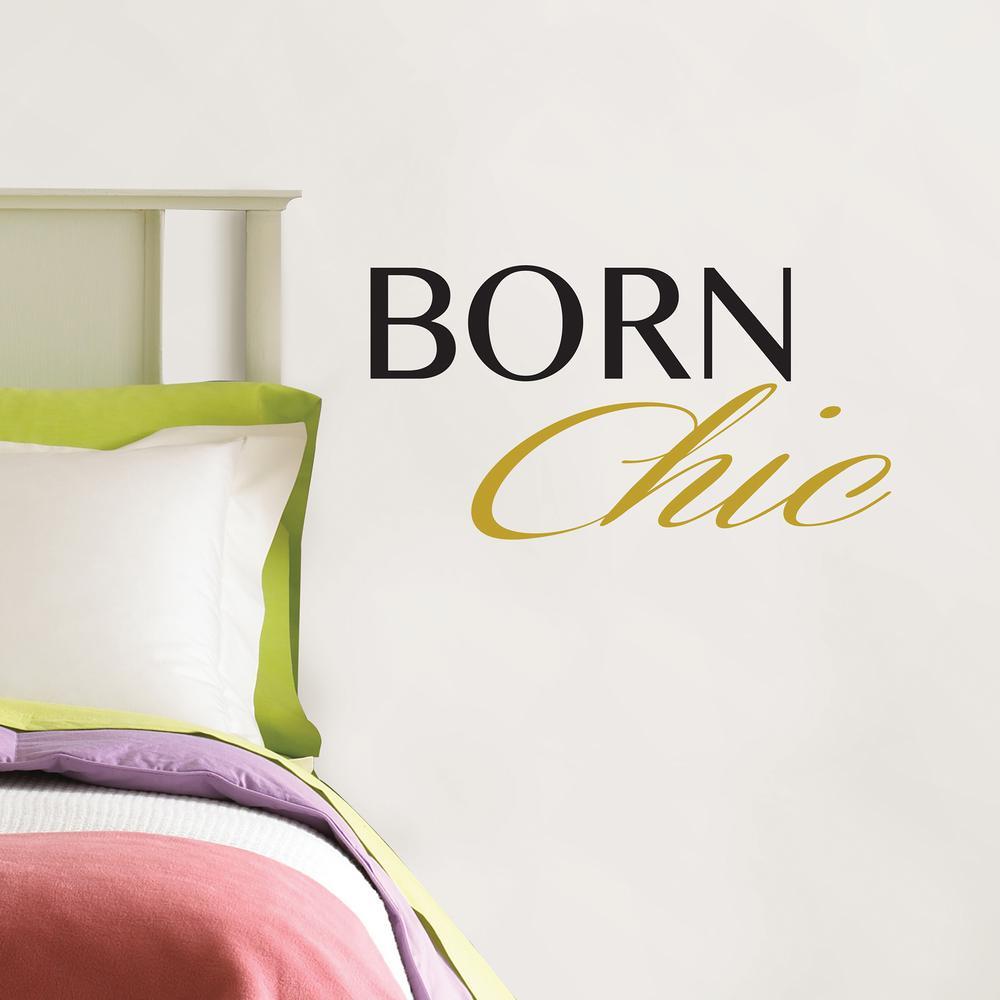 Metallic Born Chic Wall Quote