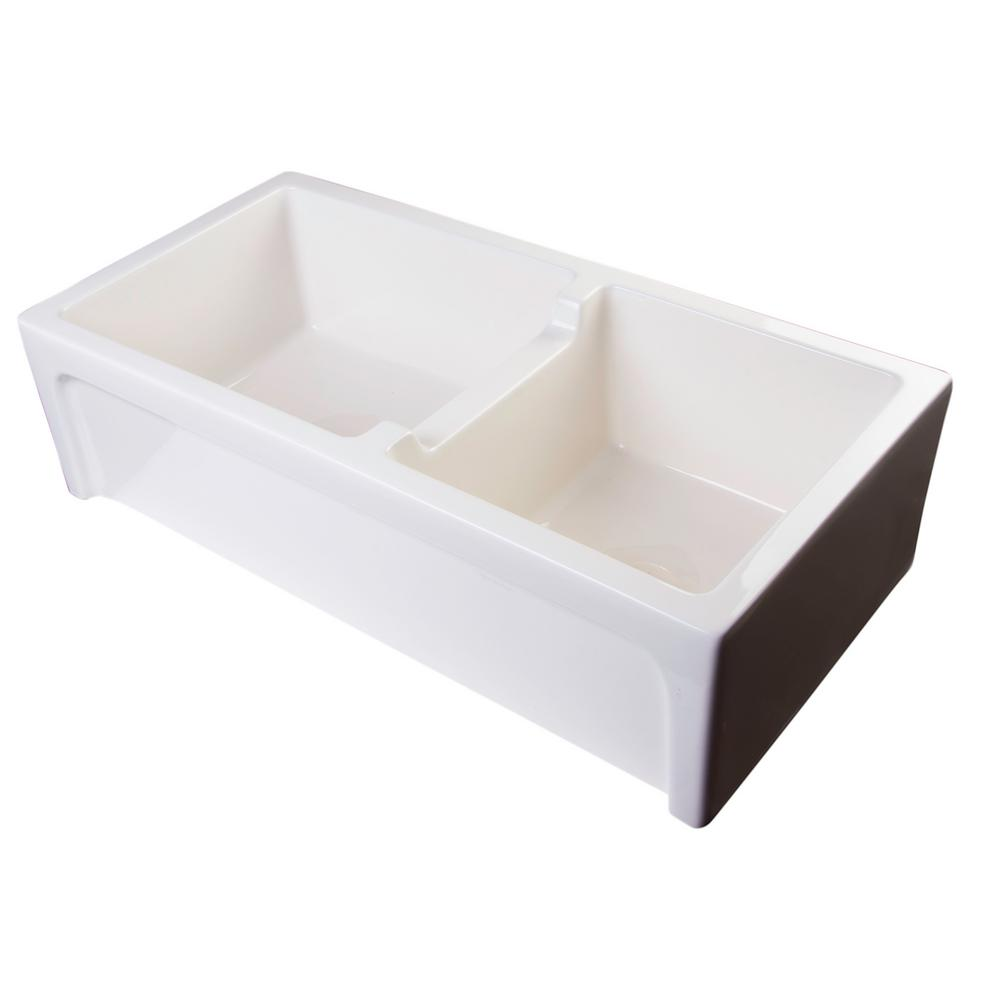 Arched Farmhouse Apron Fireclay 36 in. Double Basin Kitchen Sink in