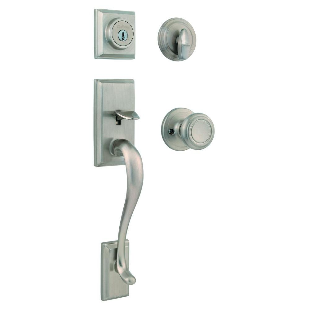 Kwikset hawthorne single cylinder satin nickel handleset for Front door knobs home depot