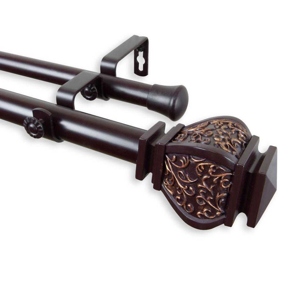 Rod Desyne 66 in. - 120 in. Telescoping 1 in. Double Curtain Rod Kit in Mahogany with Margot Finial
