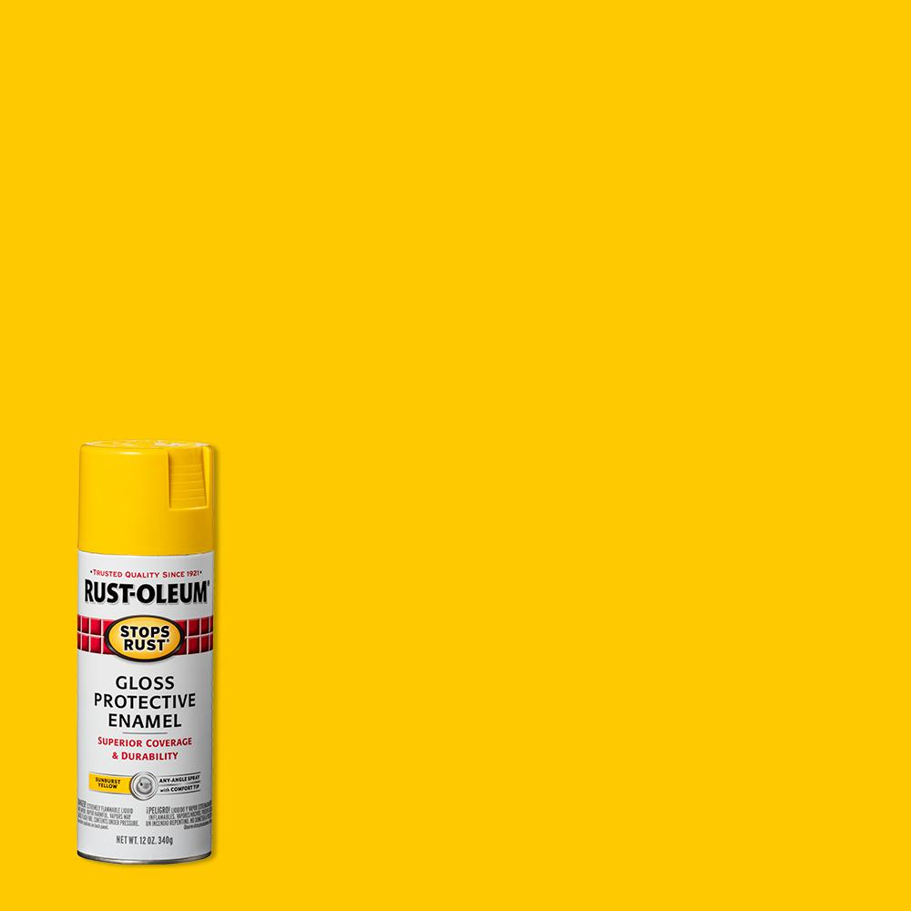 Reviews For Rust Oleum Stops Rust 12 Oz Protective Enamel Gloss Sunburst Yellow Spray Paint 6 Pack 7747830 The Home Depot