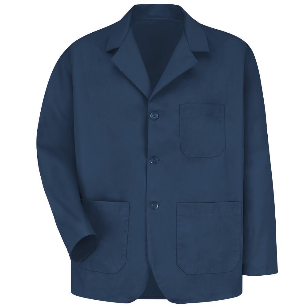 Men's Size L Navy Lapel Counter Coat