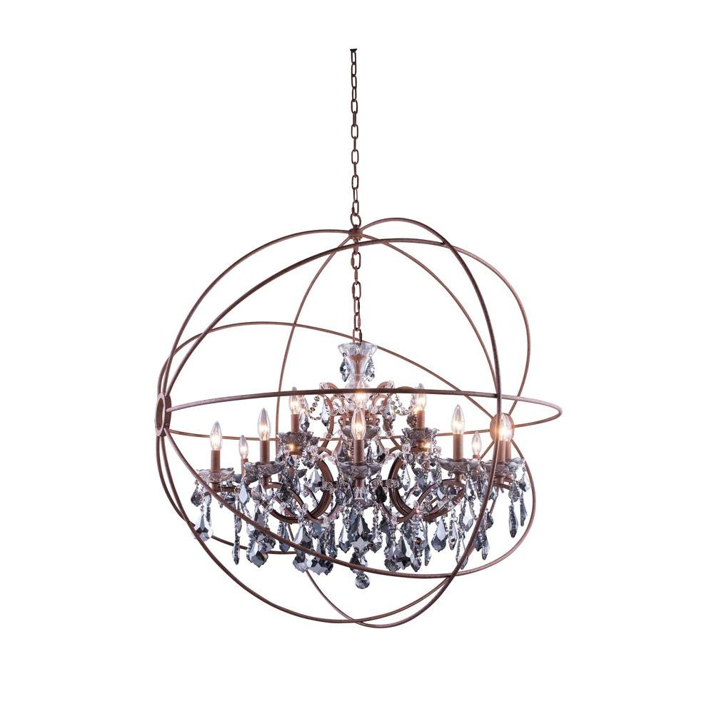 Elegant lighting geneva 18 light rustic intent chandelier with elegant lighting geneva 18 light rustic intent chandelier with silver shade grey crystal aloadofball Image collections