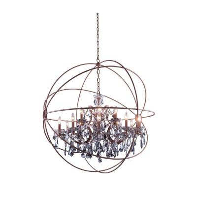 Geneva 18-Light Rustic Intent Chandelier with Silver Shade Grey Crystal