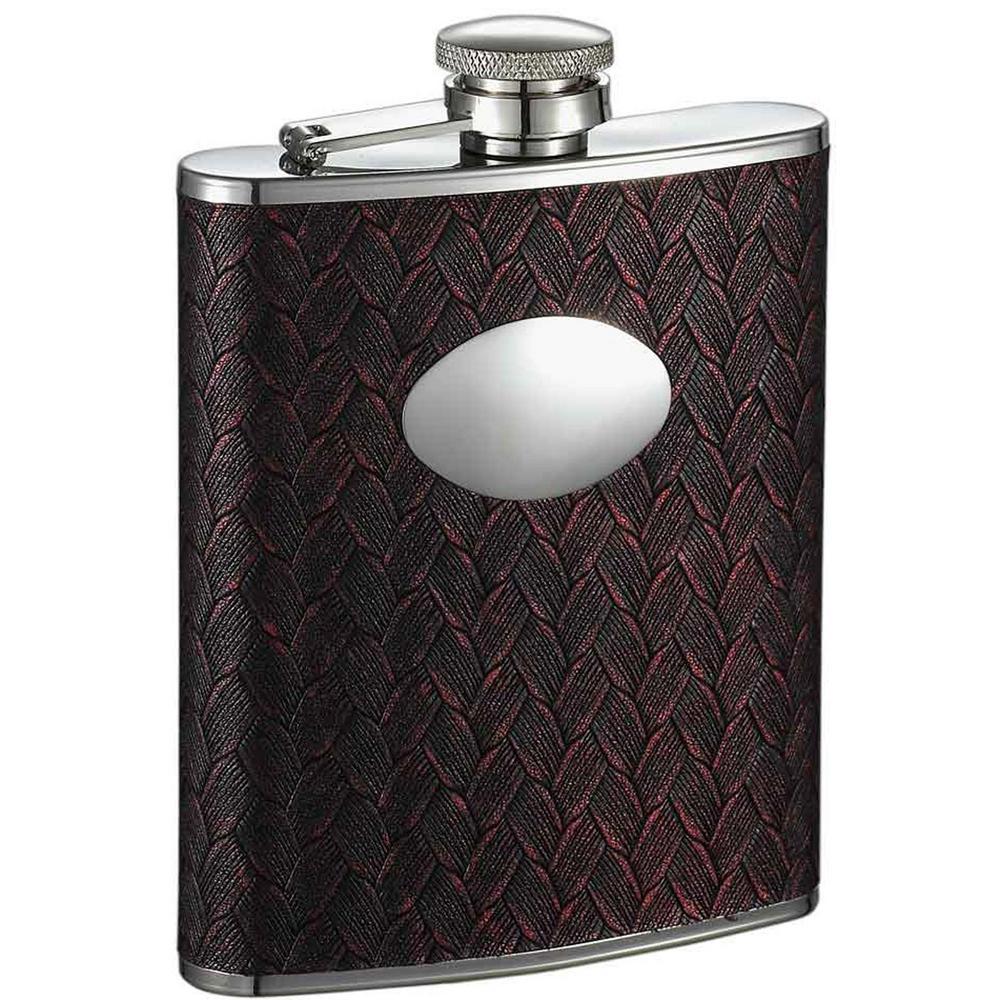 Zandor Red and Black Weave Pattern Liquor Flask