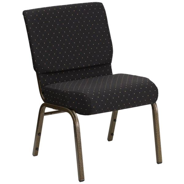 Carnegy Avenue Black Dot Patterned Fabric/Gold Vein Frame Stack Chair