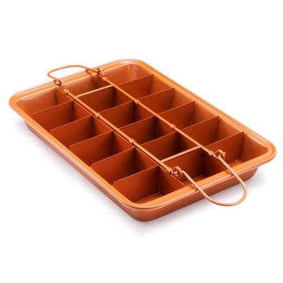 Brooklyn Brownie Non-Stick Baking Pan with Built-in Slicer (18-Brownies Capacity)