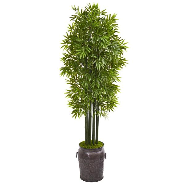 Indoor/Outdoor 6 ft. Bamboo Artificial Tree with Black Trunks in Planter UV Resistant
