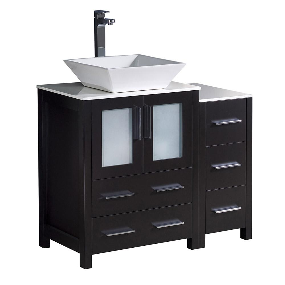 Fresca Torino 36 in. Bath Vanity in Espresso with Glass Stone Vanity Top in White with White Basin and 1 Side Cabinet