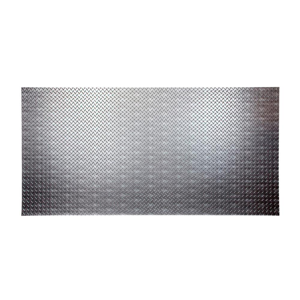 Diamond Plate 96 in. x 48 in. Crosshatch Silver Vinyl Decorative