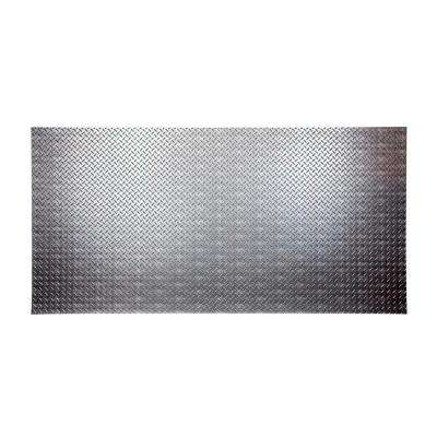 Diamond Plate 96 in. x 48 in. Crosshatch Silver Vinyl Decorative Wall Panel