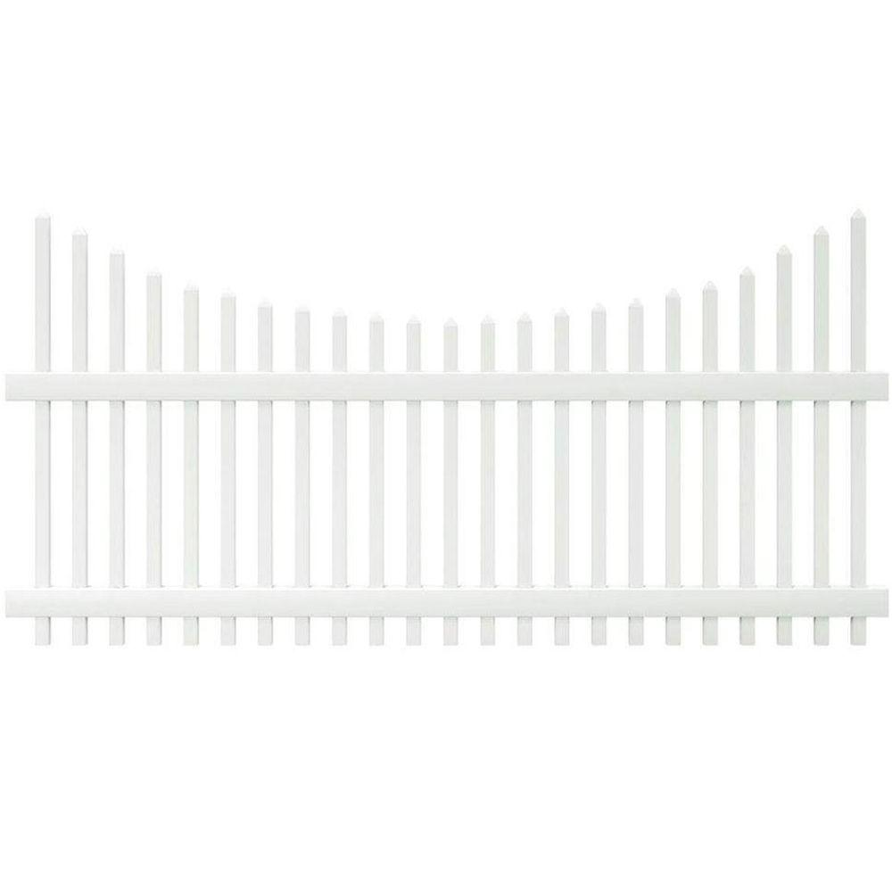 Veranda Chatham 4 ft. H x 8 ft. W White Vinyl Scalloped Top Spaced Picket Fence Panel - Unassembled
