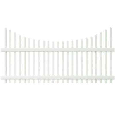 Chatham 4 ft. H x 8 ft. W White Vinyl Scalloped Top Spaced Picket Fence Panel - Unassembled