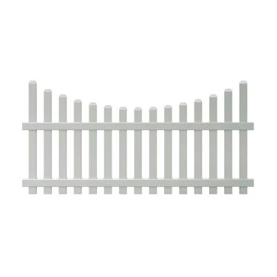 Glendale 4 ft. H x 8 ft. W White Vinyl Scalloped Top Spaced Picket Unassembled Fence Panel with 3 in. Dog Ear Pickets