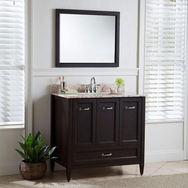 Home Decorators Collection Claxby 36 In W X 34 In H X 22 In D Bath Vanity Cabinet Only In Chocolate Srsd3621 Ch The Home Depot