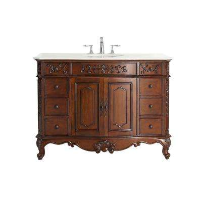 Winslow 48 in. W x 22 in. D Vanity in Antique Cherry with Marble Vanity Top in White with White Basin