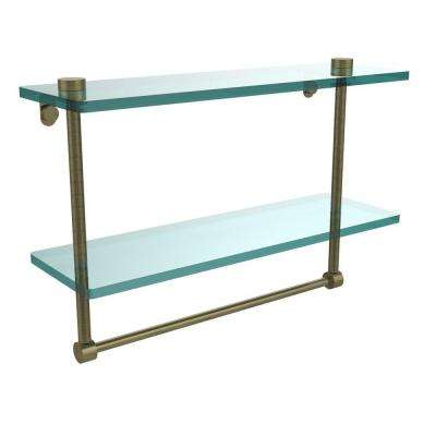 16 in. L  x 12 in. H  x 5 in. W 2-Tier Clear Glass Vanity Bathroom Shelf with Towel Bar in Antique Brass