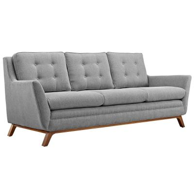 Beguile 83.5 in. Expectation Gray Polyester 3-Seater Tuxedo Sofa with Square Arms