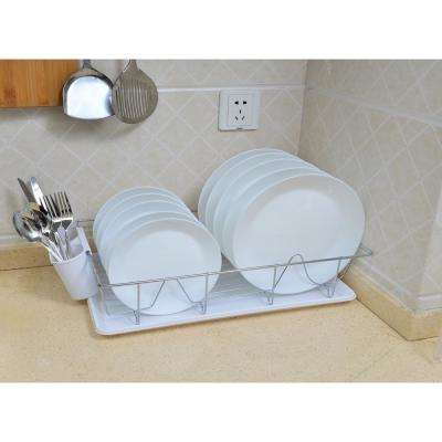 3-Piece Chrome Dishrack with Tray in White