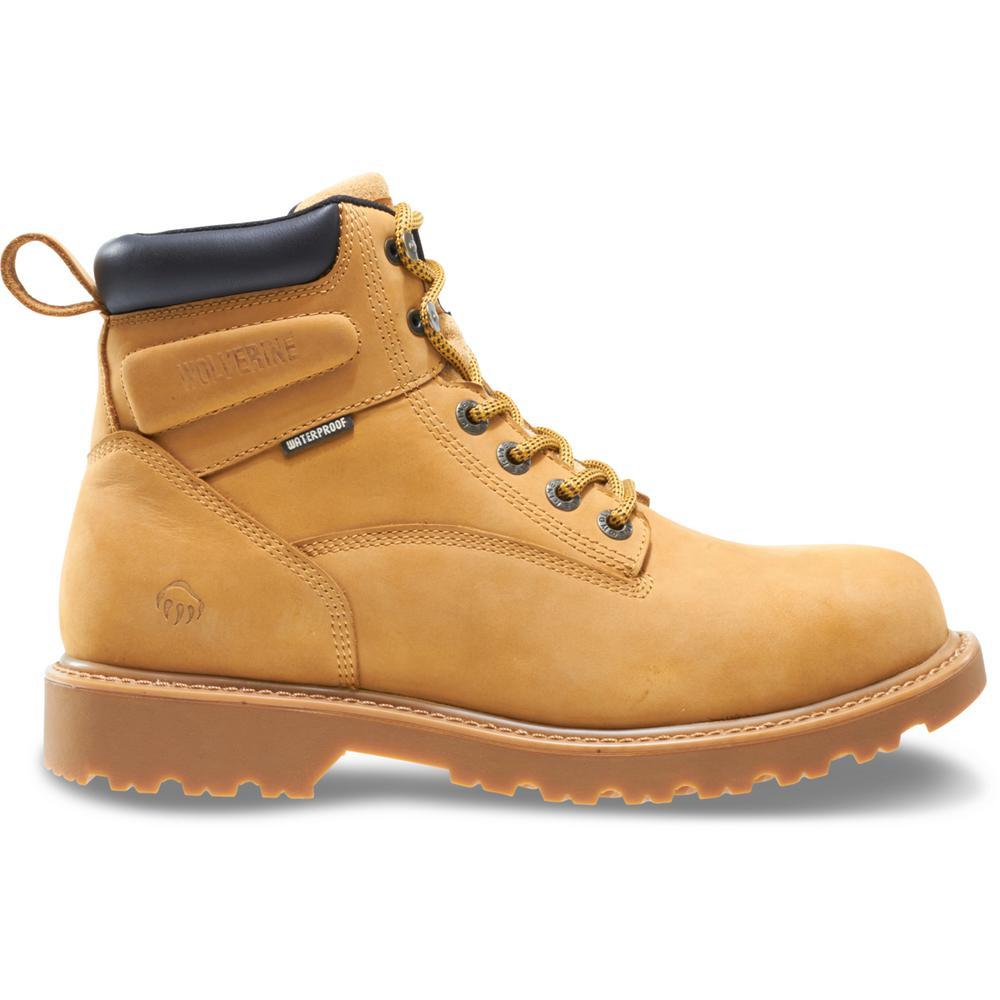 """Men's Floorhand Size 9M Wheat Full-Grain Leather Waterproof Steel Toe 6"""" Boot"""