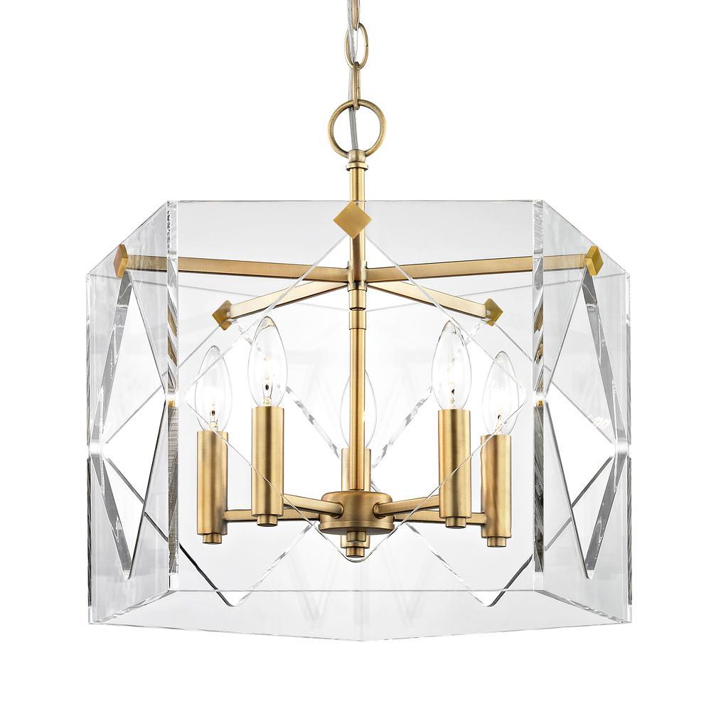 Pentos 5-Light Aged Brass Acrylic Pendant