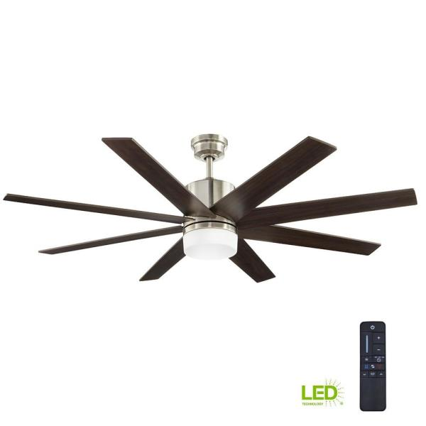 Home Decorators Collection 60 In Indoor Zolman Pike Integrated Led Dc Brushed Nickel Ceiling Fan With Light Kit And Remote Control 51708 The Home Depot