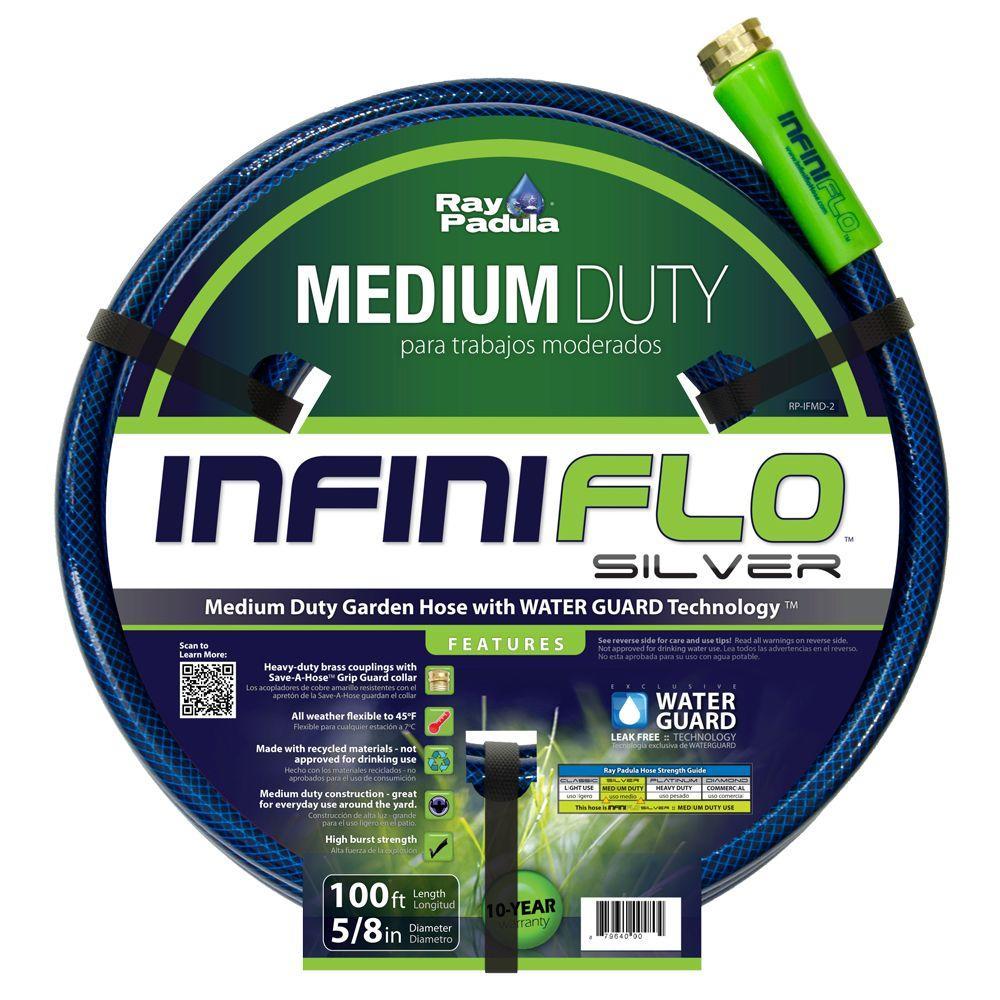 InfiniFlo Silver 5/8 in. Dia x 100 ft. Medium Duty Garden Hose