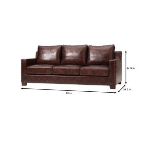 Home Decorators Collection Garrison Brown Leather Sofa ...