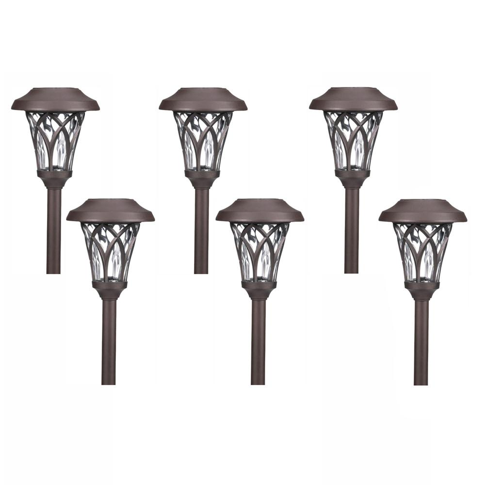 Hampton Bay Solar Bronze Outdoor Integrated LED Landscape Fan Cage Path Light with Water Glass Lens (6-Pack)