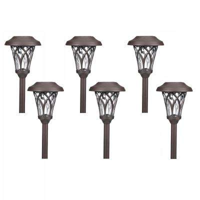 Solar Bronze Outdoor Integrated LED Landscape Fan Cage Path Light with Water Glass Lens (6-Pack)