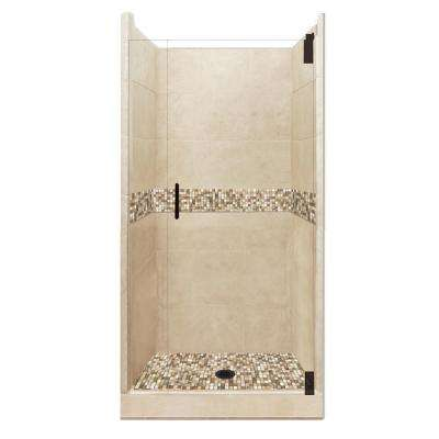 Roma Grand Hinged 42 in. x 42 in. x 80 in. Center Drain Alcove Shower Kit in Brown Sugar and Old Bronze Hardware