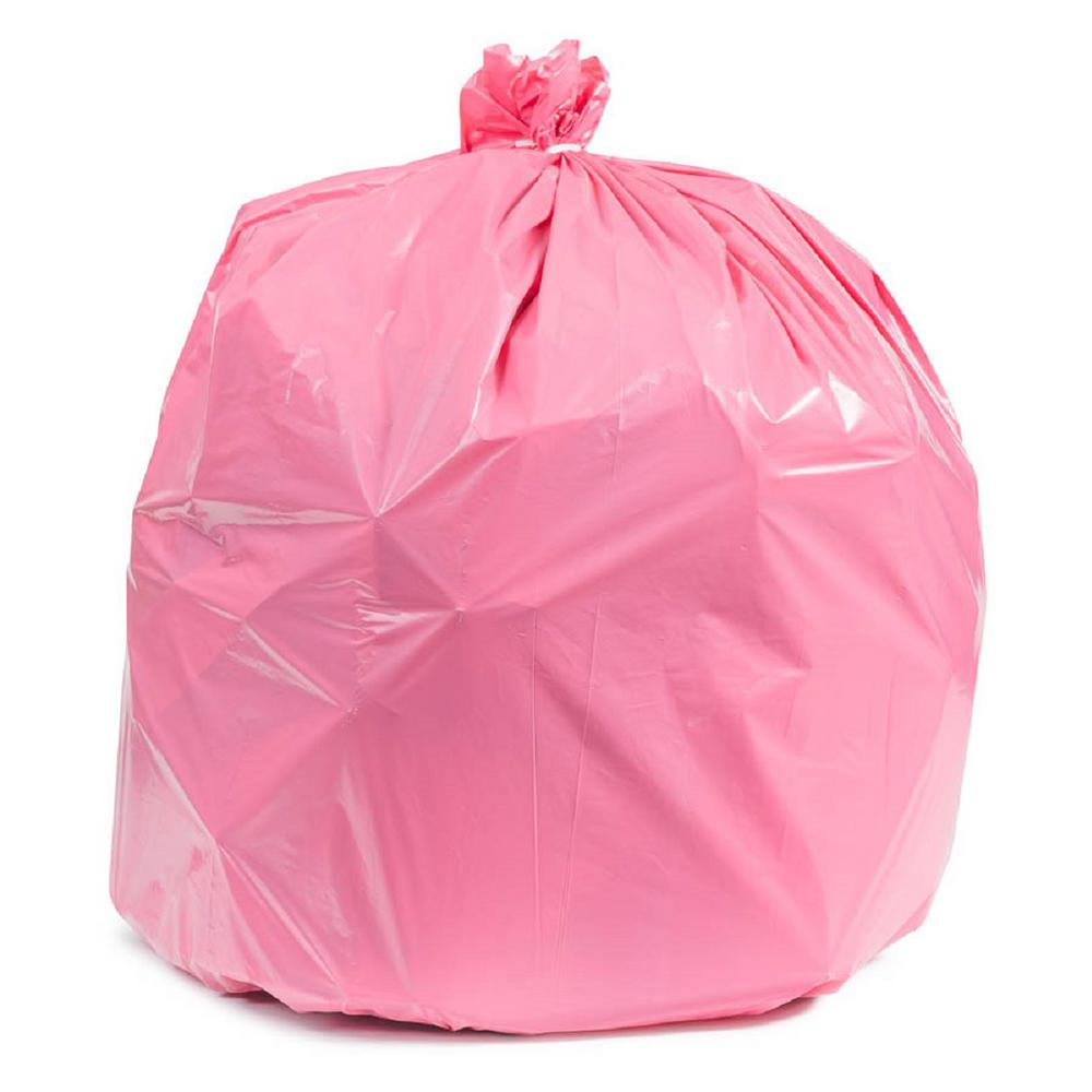 Plasticplace 32 33 Gal Pink Trash Bags Case of 100