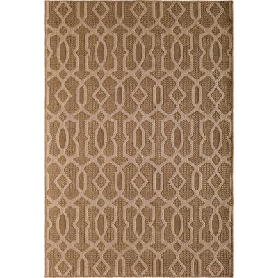 Santorini Intertwined Fret Earth/Natural 5 ft. x 8 ft. Indoor/Outdoor Area Rug