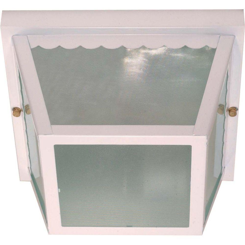 Glomar 2-Light Outdoor White Carport Flush Mount with Textured Frosted Glass