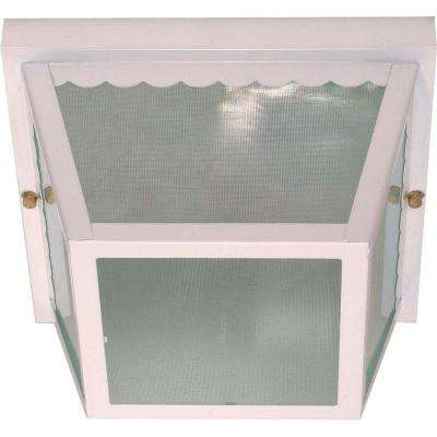 2-Light Outdoor White Carport Flush Mount with Textured Frosted Glass